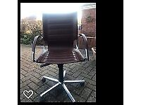 contemporary office chair. leather and chrome