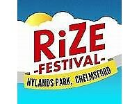RiZE Festival Tickets X 10 Friday 17th August 2018