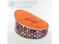 Orange Circles Luxury Soft Baby Bean Bag Chair