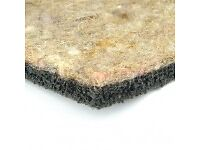 Crumb Rubber and Felt underlay, sound-proofing, good thermally, good used condition
