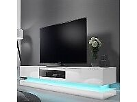 1 x EVOQUE LED WHITE HIGH GLOSS TV UNIT WITH LOWER LIGHTING