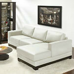 Top Grain Leather Sectional Sofa Couch Sectionnel  Cuir Blanc