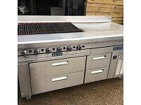 Elite 6 Burner Gas Chargrill with Refrigerator and Drawers