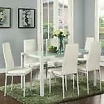 WHITE DINING TABLE AND 6 CHAIRS (WO2455)