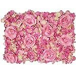 ROSE AND HYDRANGEA FLOWER WALL 60cm X 40cm PINK/CREAM