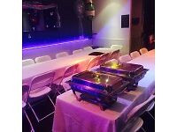 Chafing Dishes, Chairs, Tables, Drinks dispensers (glass or thermal) PAS/Music box for Hire