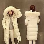 warm cozy long white down jacket