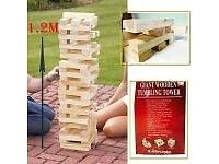 1.2m Giant Jenga Wooden Tumbling Tower Game Outdoor Garden