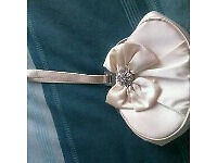SMALL IVORY SATIN DEBUT BAG FROM DEBENHAMS WITH DIAMONTES ON