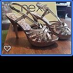 Next heeled sandals gold size 6