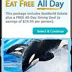 SEAWORLD ORLANDO FLORIDA ALL DAY DINING DISCOUNT TICKETS SAVINGS COUPON PROMO on Rummage