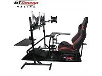 Gt Omega Pro racing seat with triple monitor stand