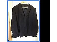 Mens Large Black and Grey Pinstripe Suit, 52 inch/132cm chest and 32 inch Leg, £45
