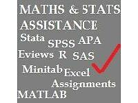 Maths Statistics Tutor & Data Analysis, SPSS Stata SAS R Excel, thesis assignments & coursework, GRE