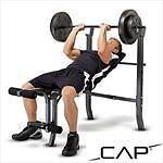 NEW CAP BARBELL DELUXE BENCH W/ 100LB WEIGHT SET