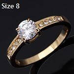 New- Yellow Gold Plated White Sapphire Solitaire Ring. Size 8