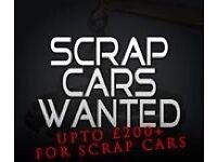 Upto £200 cash paid for scrap cars
