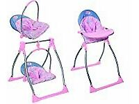 Baby Born 3-in 1 Highchair with Swing and Comfort Seat