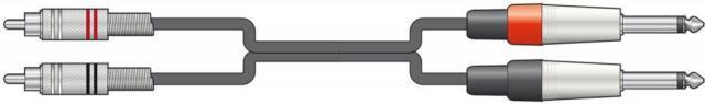 Chord 190.069 High Quality Classic Twin RCA to 2 x 6.3mm Mono Jack Plug Leads