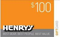 $100.00 Henry's Gift Card for $85.00