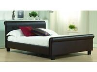 Double faux leather bed with mattress