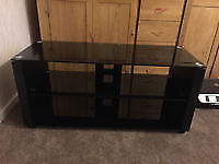 TV stand glass shelves solid gloss black from john lewis