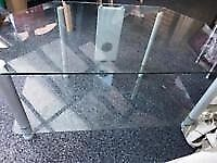 """Clear Glass TV & Entertainment Corner Stand/Unit (For TV's up to approx. 36"""")"""