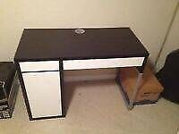Ikea MICKE desk brown and white