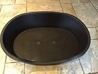 XL TOUGH PLASTIC DOG BED - BROWN AS NEW CONDITION