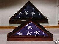 US AMERICAN MAHOGANY FLAG DISPLAY CASE W/BASE 5 x 9 VETERAN DOUBLE VIEW (Us Flag Display Case)