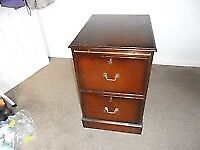 Antique style mahogany 2 draw filing cabinet