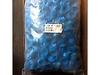Hexagonal Hex Head Tek Tec bolt screw ' Cap Cover ' for roof sheeting -1000 caps ( blue )