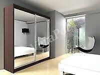 HIGH MIRRORED DOUBLE SLIDING 2 DOOR BERLIN WARDROBE IN FIVE DIFFERENT COLOUR S AND SIZES BUY NOW