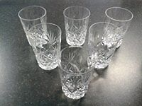 Six small crystal tumblers in box