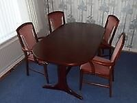 Polished magogany wood dining table & 4 chairs