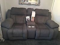Two Seater Recliner sofa with centre console and cup holdersg