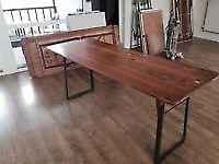 Vintage pine foldable trestle tables beer tables