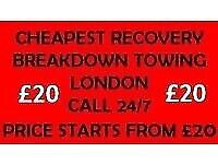 RECOVERY BREAKDOWN TOWING TRUCK 24/7 SERVICE CAR LONDON TOW TRUCK ILFORD CHEAP