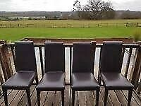 Four dark brown leather John Rocha dining chairs - Free