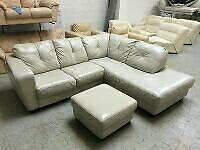 IVORY 100% REAL LEATHER CORNER SOFA POOF GOOD CONDITION DELIVERY POSSIBLE