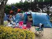 8 Berth tent & sun porch, footprint, ground sheet, 1 double room pod, 2 singles. Good condition
