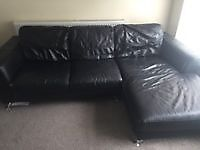 Black 3 seater leather sofa with buffet £250 ONO