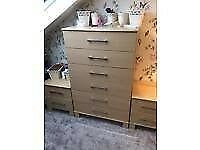 Bedroom furniture, 2 x wardrobes, 2 bedside cabinets, chest of drawers - fantastic cond