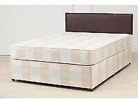Double bed. Has a mattress, base with a headbaord