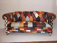 CHESTERFIELD SOFA MULTICOLOURED REAL LEATHER