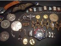 Wanted gold silver watches coins medals antiques collectables