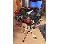 christmas wreath stand - decoration stand with candle holder