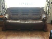 SOLID WOOD FRAME THREE SEATER LEATHER SOFA