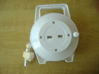 UK Telephone Extension Lead in Manually Retractable White Casing