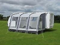 KAMPA 390 RALLY CARAVAN AWNING WITH MONSOON POLES AND TIE DOWN STRAPS